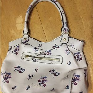 NICOLE MILLER Ivory Floral BAG Vegan Leather Large